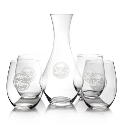 Set of 4 Stemless Glasses & Decanter