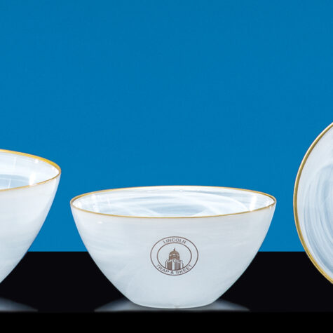 Alabaster Bowl with Gold Rim