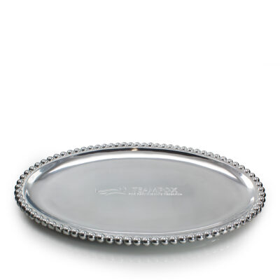 Pewter Pearled Oval Platter