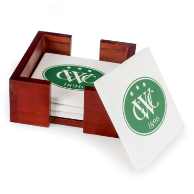 Square Coasters in Wood Caddy
